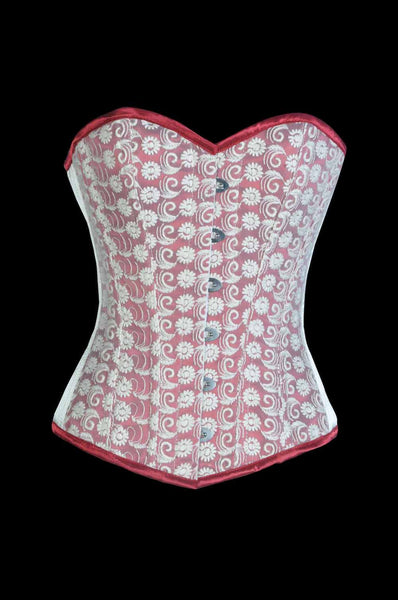 Cream embroideried steel boned overbust Corset