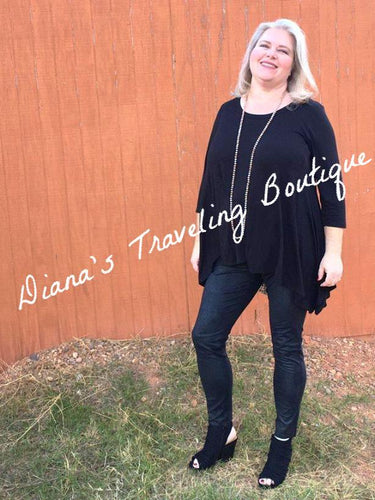 Plus 3/4 Sleeve Black Top with Leopard Print Insert