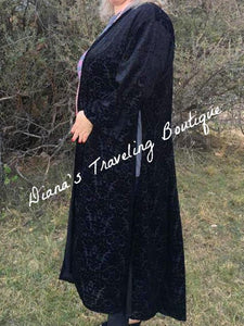 Plus Long Black Slitted Velvet Duster