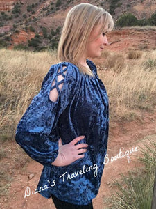 Long Sleeve Blue Velvet Top