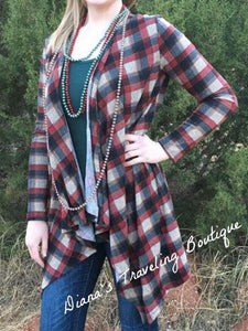 Maroon Plaid Long Sleeved Flannel Kimono