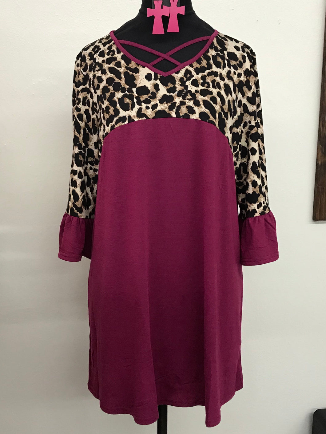 Purple and Leopard Criss Crossed Top
