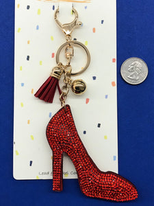 Sparkly Puffy Red Shoe Key Chain