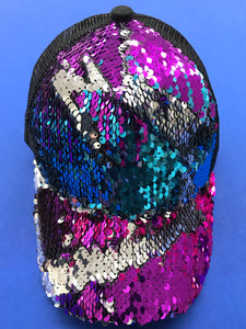 Turquoise Purple and Silver Sequins on Black C.C Pony Cap