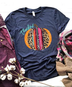 Serape Thankful Pumpkin On Blue Tee