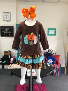 Girls Turquoise Pumpkin Top and Skirt Set