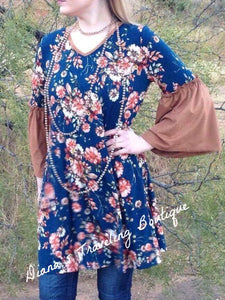 Blue Floral Dress with Brown Suede Trim and Bell Sleeves