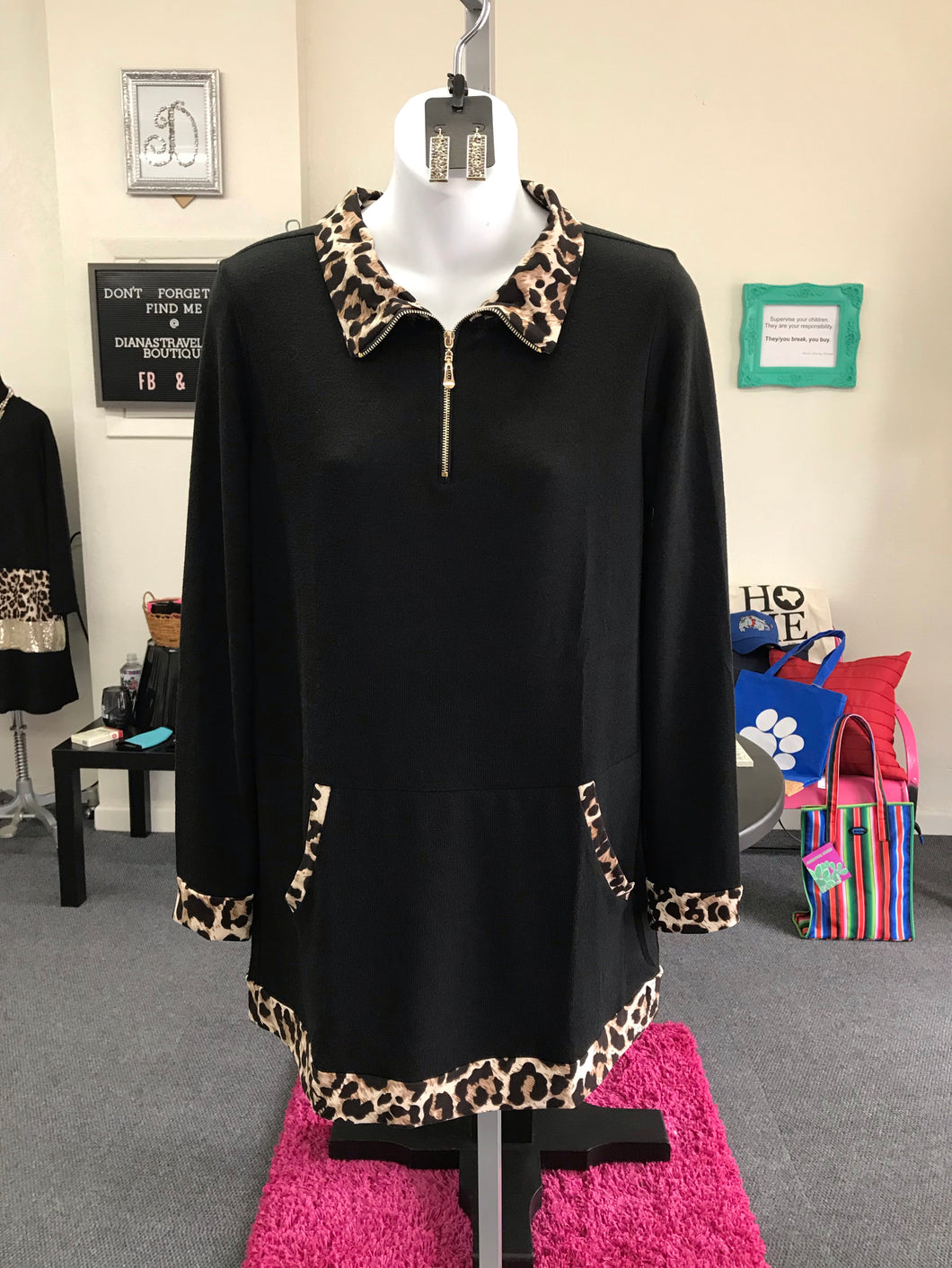 Black and Leopard Athletic Jacket