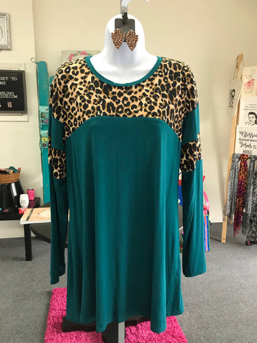 Long Sleeved Teal Tee with Leopard Accents