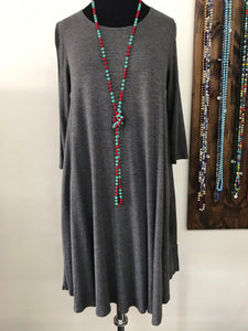 Charcoal Gray Round Neck Dress