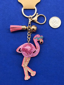 Sparkly Puffy Pink Flamingo in Shades Key Chain