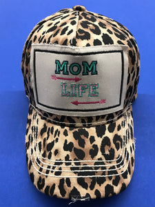 Pink Arrow and Mom Life Patch on Leopard Cap