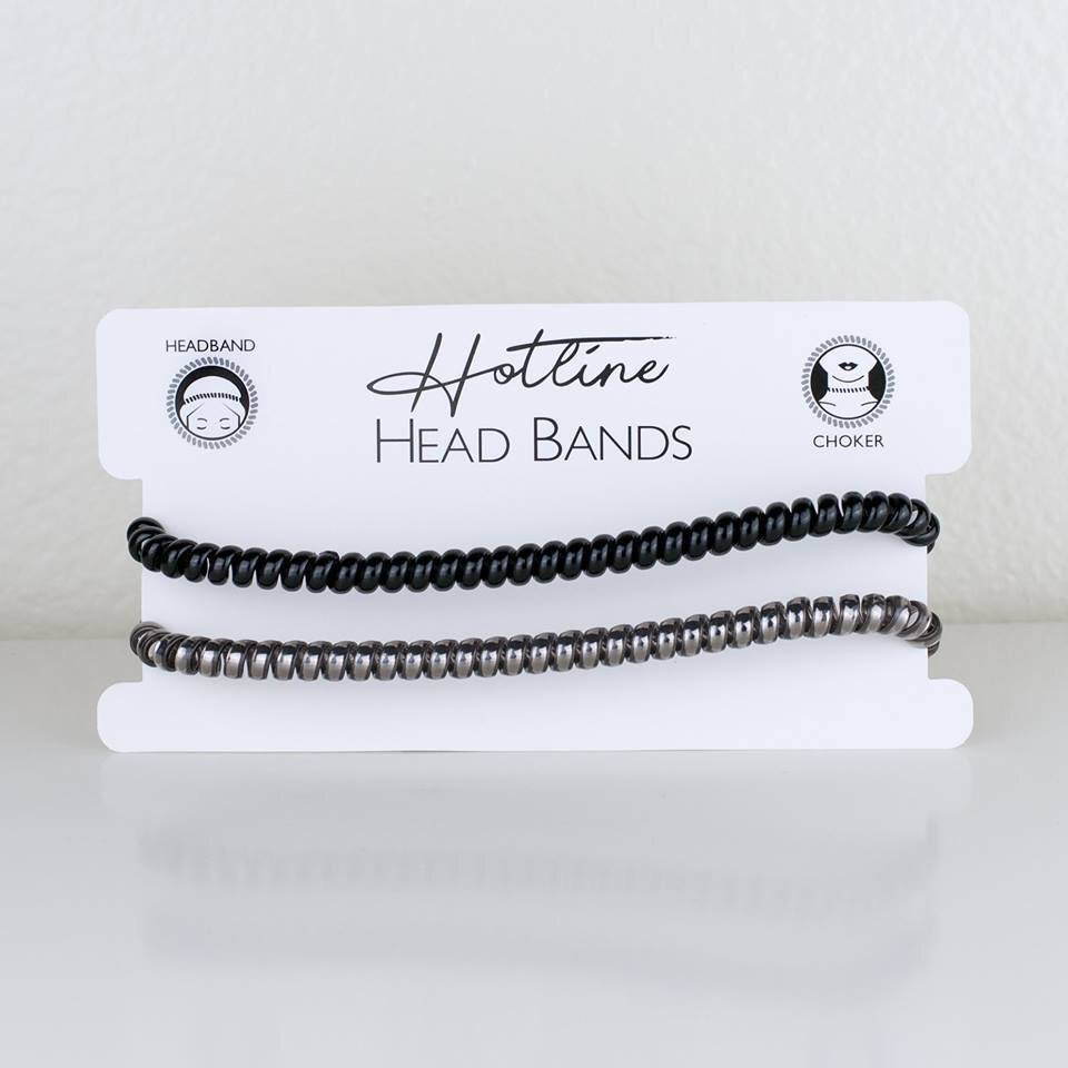 Black and Pewter Headband Set by Hotline Hair Ties