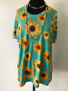 Turquoise and Sunflower Tee