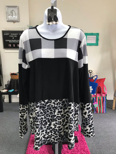 Long Sleeved, Black and White, Checked, and Leopard, Color Block Tee