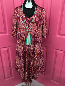 Pinkish Purple Paisley Dress