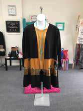 Cactus and Sequin Color Block Long Cardigan