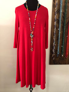 Red Round Necked Dress