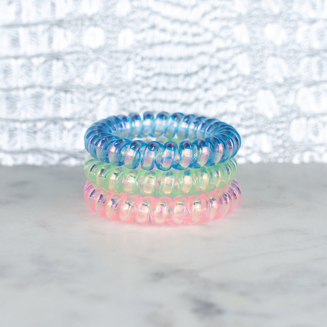 Cotton Candy Iridescent Hotline Hair Ties