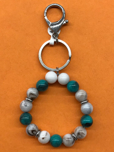 Turquoise White and Gray Bracelet Keychain