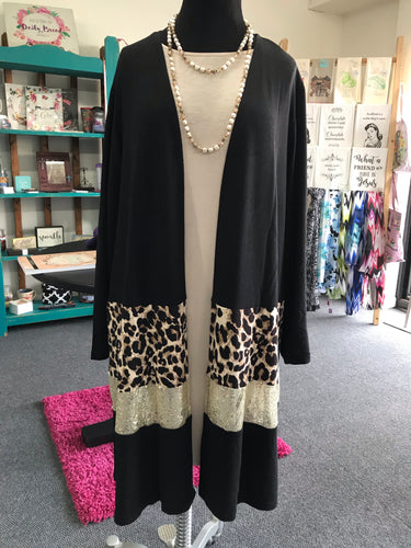 Black, Gold Sequin, and  Leopard Print Long Cardigan