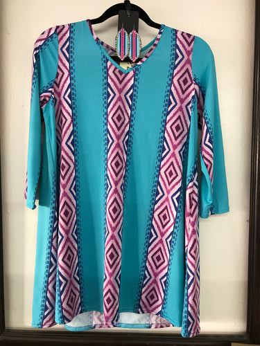 Turquoise Top with Purple and Blue Serape Stripes