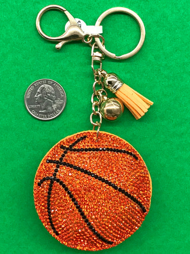 Sparkly Puffy Basketball Keychain