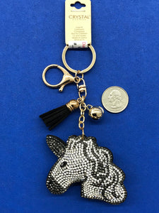 Sparkly Puffy Black and White Unicorn Key Chain