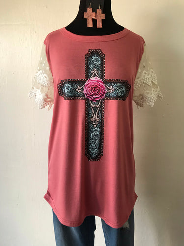 Rose Cross Top with Lace Short Sleeves