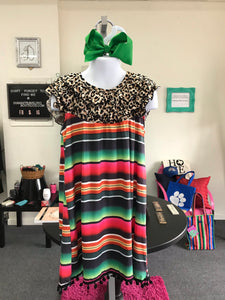 Girls Serape and Cheetah Dress with Pom Pom Trim