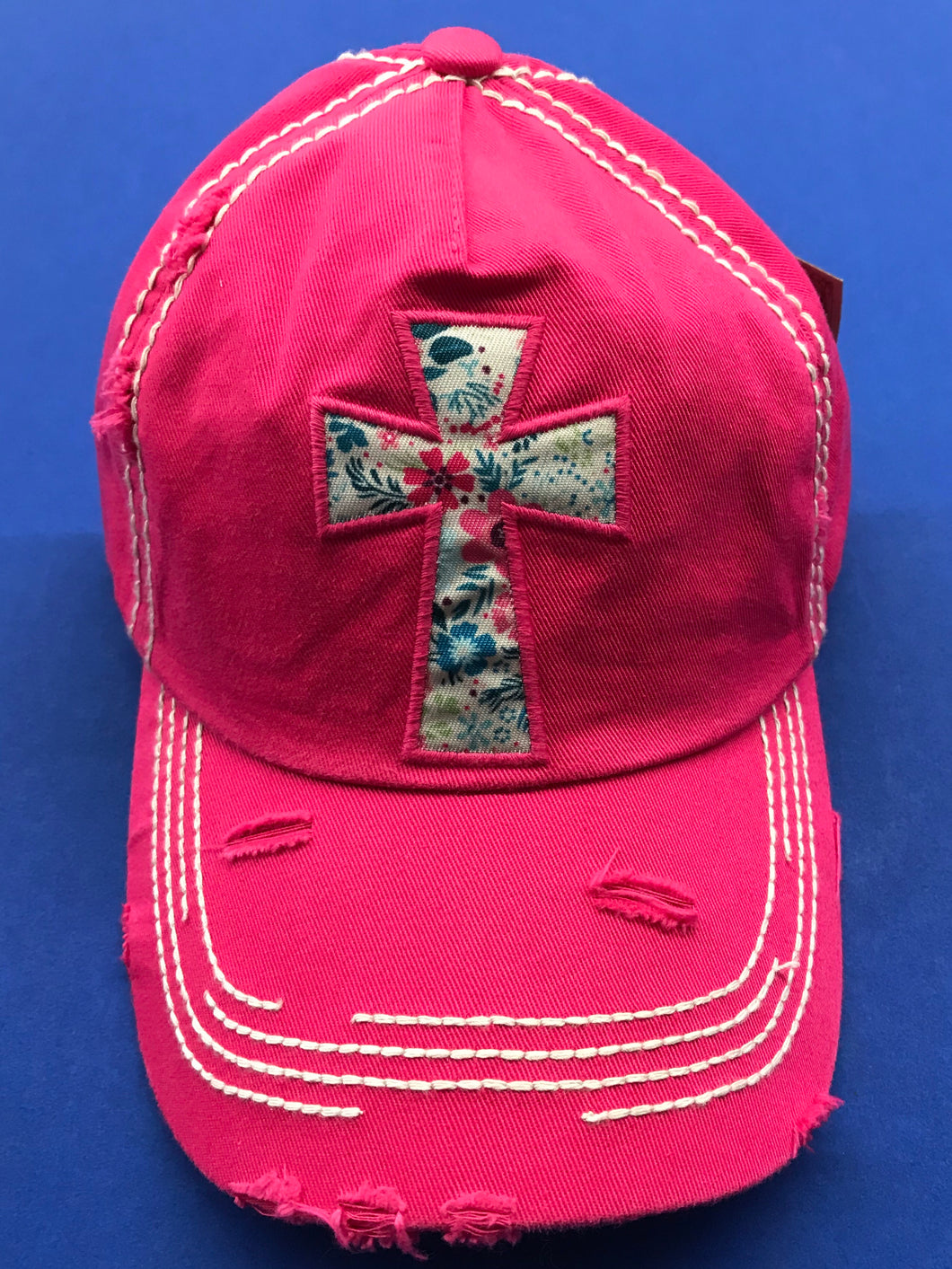 Floral Cross Cap in Hot Pink