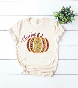 Plaid, Leopard, and Glitter Pumpkin On Cream Tee