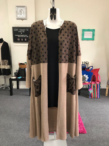 Taupe and Brown Hooded Long Cardigan