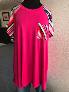 Pink Tee with Serape Sleeves and Pocket