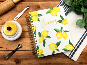 Lemons Keepsake Recipe Journal  Organize all of your recipes in this vibrant lemon print spiral-bound book. Inside features separate categories for different courses, along with side tabs for easy access to each section!