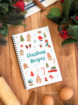 Daisy and Decor Christmas Recipes Recipe Journal Cookbook Recipe Book Recipe book for Holiday Recipes
