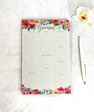 Market List Notepad, Shopping List Notepad, Organized Grocery List, Groceries List, To do, Floral Notepad Grocery List Notepad, Gift for her, tear off pad, memo pad, market list, grocery list, shopping list, organized kitchen, organized grocery list notepad, office supplies