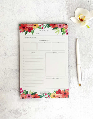 Daily Planner Notepad, To Do list Notepad, Daily Schedule Notepad, Self Care, Notes, Priorities, Tear Off Pad, Desk Pad, 55 Undated Pages,office supplies, daily planner, top priorities, self care journal