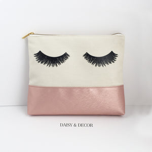 Eyelashes Rose Makeup Bag, Makeup bag, Cosmetic Bag, Handdrawn eyelashes, Daisy and Decor, Cotton Canvas Bag, Pouch, Clutch