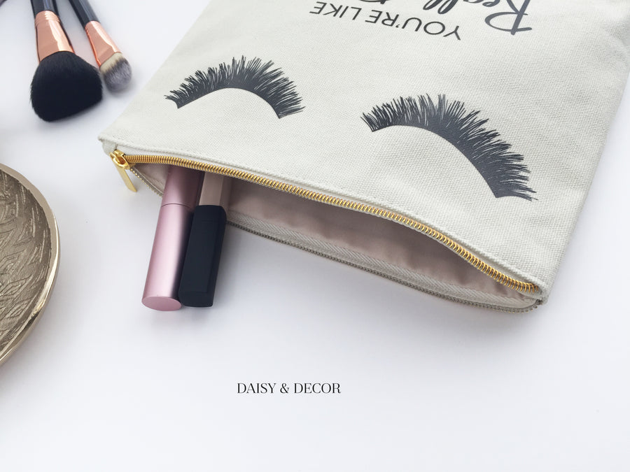 Eyelashes Pretty Makeup Bag, Makeup bag, Cosmetic Bag, Handdrawn eyelashes, Daisy and Decor, Cotton Canvas Bag, Pouch, Clutch