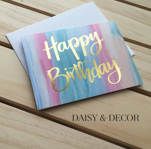 Happy Birthday Watercolor Greeting Card