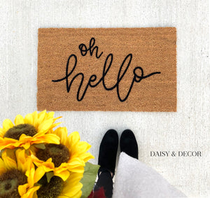 "The perfect addition to your entry way! Make your home feel unique with this handdrawn ""oh hello"" outdoor doormat! 100% coir doormat! Perfect christmas gift! Handdrawn"