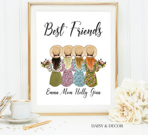 Daisy and Decor Personalized Art Print, Girl best friend gift, gift for mom, graduation gift, birthday gift, girls gift, bridal shower gift, custom art print