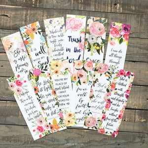 The Perfect Set of 6 bookmarks to use in your Bible, journal, and book!  Perfect as a gift for anyone or yourself!