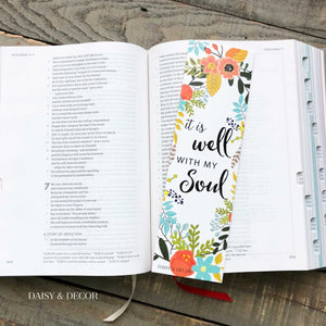 The Perfect Set of 6 bookmarks to use in your Bible, journal, and book!  Perfect as a gift for anyone or yourself! It is well with my soul