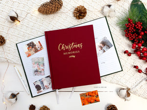 Christmas memory keep, write memories, Christmas Memories Linen Journal  Christmas gift, housewarming gift, Store the special memories of the most wonderful time of the year in this decade-long Christmas memory book.  Inside features lots of space and prompts where you can record holiday traditions and activities you experience with family and friends
