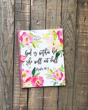 Daisy and Decor Prayer Journal God is within her she will not fall Psalm 46 5 Bible journaling 90 day journal