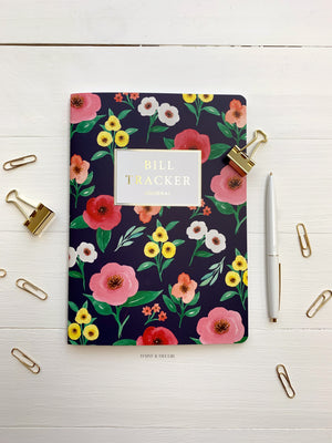 Daisy and Decor, Undated Planner, Bill Tracker Journal, The original Bill Tracker Journal, Floral notebook, Navy blooms, 2020 Planner, New years resolution pay bills on time