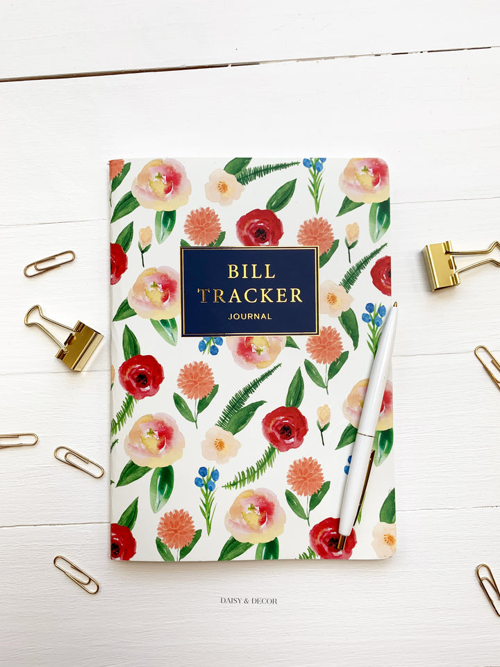 Daisy and Decor, Undated Planner, Bill Tracker Journal, The original Bill Tracker Journal, Floral notebook, Garden Flowers, bill organizer, 2020 Planner, New years resolution pay bills on time