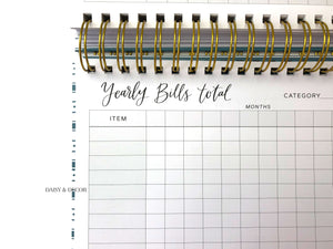 Daisy and decor, Bill tracker journal, budget book, keep track of finances, bill tracker journal, abstract journal, christmas gift, budget book, pay your bills on time, things to help you pay your bills on time, bill book,